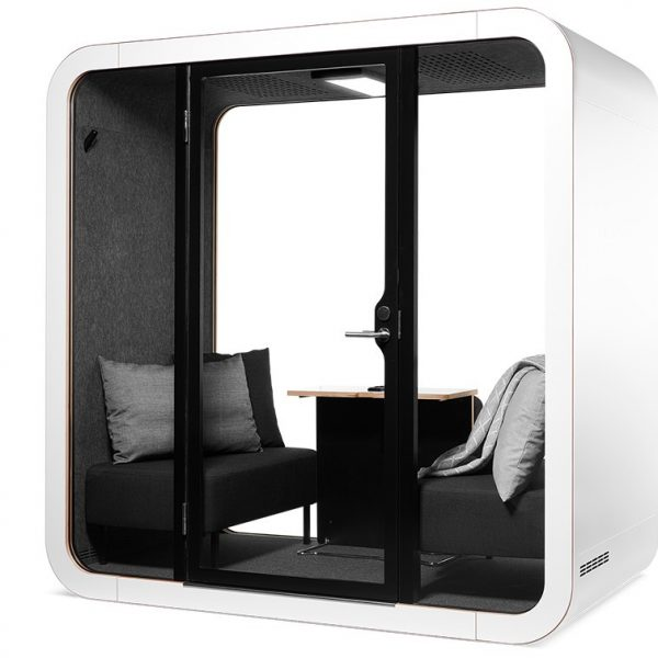Framery-Smart-Office-Acoustic-Meeting-Pod-with-Black-Sofas-and-Grey-Pillows (1)